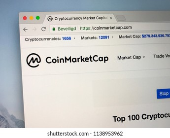 Amsterdam, the Netherlands - July 21, 2018: Website of CoinMarketCap. Coin Market Cap provides various data about several listed crypto coins.