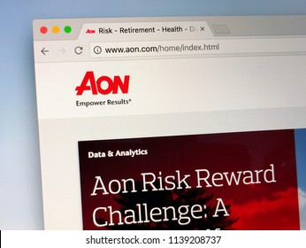 Amsterdam, the Netherlands - July 21, 2018: Website of Aon, a global services firm that provides risk, retirement and health consulting.