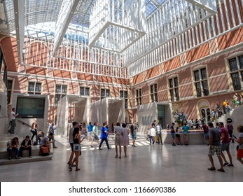 Amsterdam, Netherlands - July 21, 2018: Interior of the Rijksmuseum in the Netherlands beautiful capital city of Amsterdam. The Rijksmuseum in the most important gallery in the country.