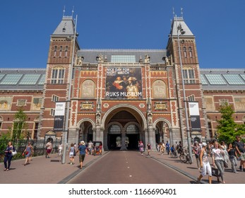 Amsterdam, Netherlands - July 21, 2018: Exterior of the Rijksmuseum in the Netherlands beautiful capital city of Amsterdam. The Rijksmuseum in the most important gallery in the country.