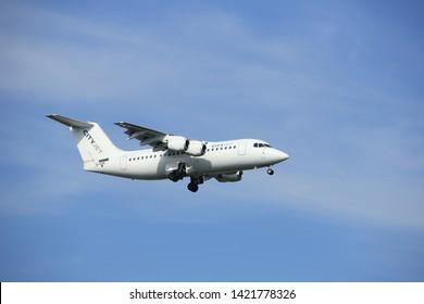 Amsterdam, the Netherlands - July 21st 2016: EI-RJR Cityjet British Aerospace Avro RJ85, approaching Polderbaan runway at Schiphol Amsterdam Airport, arriving from London