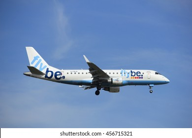 Amsterdam, the Netherlands - July 21st 2016: G-FBJF Flybe Embraer ERJ-175STD, approaching Polderbaan runway at Schiphol Amsterdam Airport, arriving from Birmingham
