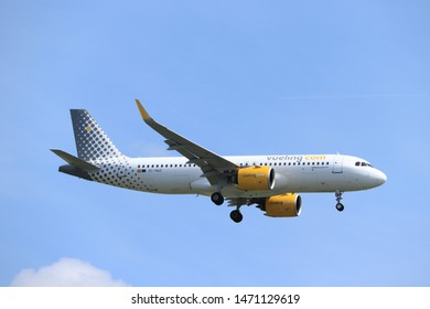 Amsterdam, the Netherlands - July 21st 2019:  EC-NAZ Vueling Airbus A320neo on final approach to Amsterdam Airport Schiphol Polderbaan runway