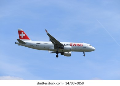 Amsterdam, the Netherlands - July 21st 2019: HB-JLT Swiss Airbus A320-200 on final approach to Amsterdam Airport Schiphol Polderbaan runway