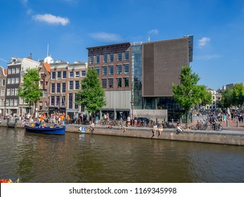 Amsterdam, Netherlands - July 22, 2018: Views along the Prinsengracht Canal in the Jordaan district of Amsterdam.  Jordaan is one of the most popular districts of Amsterdam.