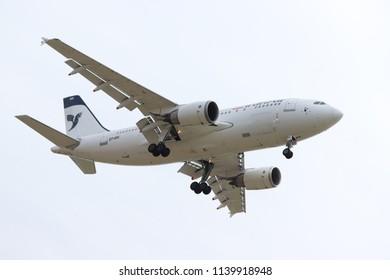 Amsterdam the Netherlands - July 22nd 2018: EP-IBK Iran Air Airbus A310-300, final approach to Schiphol Zwanenburgbaan runway, Amsterdam Airport Schiphol