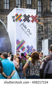Amsterdam, the Netherlands, July 23, 2016: opening party on Dam square during Pink Saturday celebrations of the Gay EuroPride