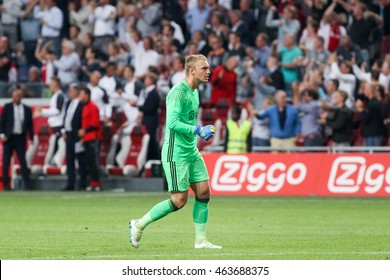 Amsterdam, Netherlands - July 26, 2016: Jasper Cillessen  in action during the UEFA Champions League third qualifying round between Ajax vs PAOK