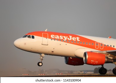 Amsterdam the Netherlands - July 26th 2018: G-EZRI easyJet Airbus A320-200 takeoff from Polderbaan runway, Amsterdam Airport Schiphol