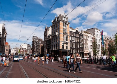 AMSTERDAM, NETHERLANDS - JULY 27, 2013: Common view of streets of Amsterdam in summer of 2013.