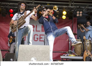 Amsterdam, The Netherlands - July, 3 2016: concert of alternative Algerian band Djmawi Africa at Amsterdam Roots Open Air, free public cultural festival held in Oosterpark