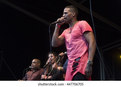 Amsterdam, The Netherlands - July, 3 2016: concert of Cuban band Elito Reve y su Charangon at Amsterdam Roots Open Air, free public cultural festival held in Oosterpark