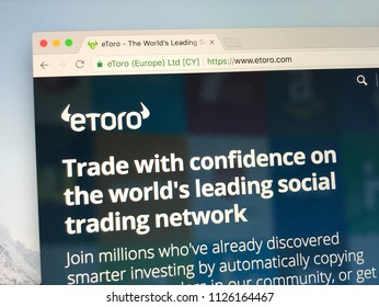 Amsterdam, the Netherlands - July 3, 2018: Website of eToro, is a social trading and multi asset brokerage company