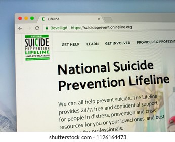Amsterdam, Netherlands - July 3, 2018: Website of National Suicide Prevention Lifeline, a American suicide prevention website.