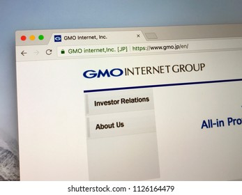 Amsterdam, the Netherlands - July 3, 2018: Website of GMO Internet Group, a bitcoin mining company.