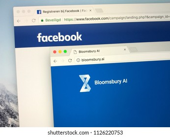 Amsterdam, the Netherlands - July 3, 2018: Official websites of Facebook and Bloomsbury AI.