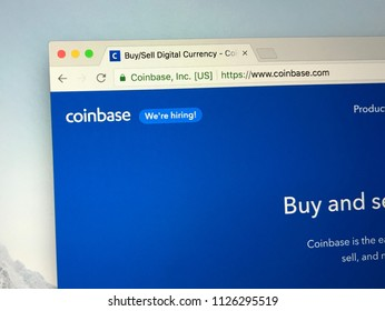 Amsterdam, the Netherlands - July 3, 2018: Website of Coinbase, a digital crypto currency exchange.