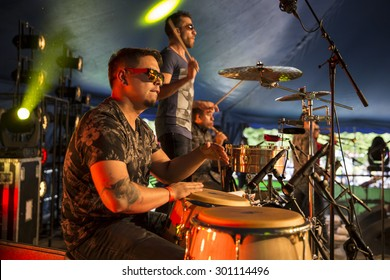 Amsterdam, The Netherlands - July, 5 2015: during the concert of Colombian band LA-33 - during Amsterdam Roots Open Air,  cultural festival held in Park Frankendael on 05/07/2015