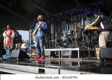 Amsterdam, The Netherlands - July, 5 2015: during the concert of Tunisian band Bargou 08 at Amsterdam Roots Open Air, cultural festival held in Park Frankendael on 05/07/2015