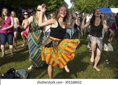 Amsterdam, The Netherlands - July, 5 2015: African dance workshop during Amsterdam Roots Open Air, a cultural festival held in Park Frankendael on 05/07/2015