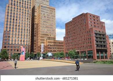 AMSTERDAM, THE NETHERLANDS - JULY 5, 2017: The Zuidas (South Axis) is a rapidly developing business district also known as the 'Financial Mile in the city of Amsterdam.