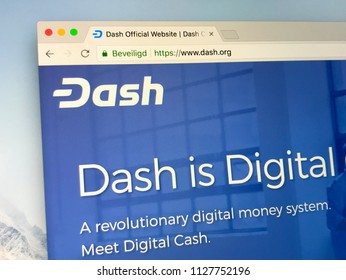 Amsterdam, the Netherlands - July 5, 2018: Website of Dash (formerly known as Darkcoin and XCoin), a open source peer-to-peer cryptocurrency.