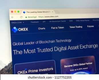 Amsterdam, the Netherlands - July 5, 2018: Website of OKEx, a digital asset exchange that provides financial services to global traders who use blockchain technology
