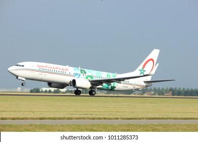 Amsterdam the Netherlands - July 6th, 2017: CN-RGG Royal Air Maroc Boeing 737-800 takeoff from Polderbaan runway, Amsterdam Schiphol Airport