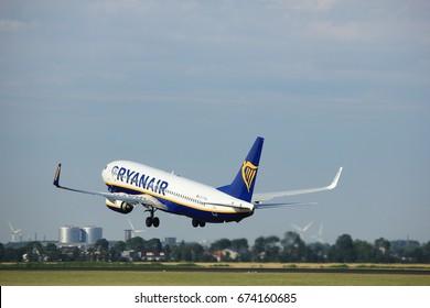 Amsterdam the Netherlands - July 6th, 2017: EI-FTW Ryanair Boeing 737-800 takeoff from Polderbaan runway, Amsterdam Schiphol Airport