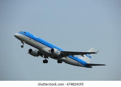 Amsterdam the Netherlands - July 6th, 2017: PH-EZY KLM Cityhopper Embraer ERJ-190STD takeoff from Polderbaan runway, Amsterdam Schiphol Airport