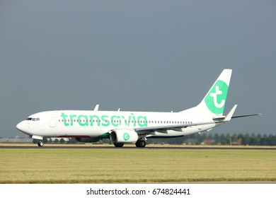 Amsterdam the Netherlands - July 6th, 2017: PH-HZE Transavia Boeing 737-800 takeoff from Polderbaan runway, Amsterdam Schiphol Airport