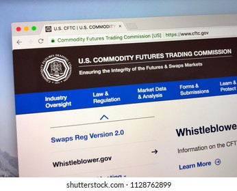 Amsterdam, the Netherlands - July 7, 2018: Official website of The U.S. Commodity Futures Trading Commission or CFTC.