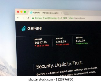 Amsterdam, the Netherlands - July 7, 2018: Website of Gemini Trust Company, LLC, a digital currency exchange and custodian.