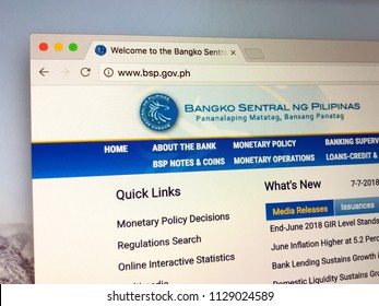 Amsterdam, the Netherlands - July 7, 2018: Website of The Bangko Sentral ng Pilipinas, the central bank of the Philippines.
