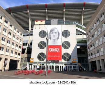 Amsterdam, the Netherlands - July 7, 2018: Entrance of the Johan Cruyff Arena, the main stadium of the Dutch capital city of Amsterdam and the largest stadium in the the Netherlands.