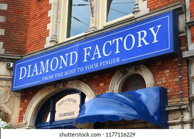 AMSTERDAM, NETHERLANDS - JULY 8, 2017: Diamond factory shop Koh-i-noor in Amsterdam, Netherlands. Amsterdam has a long history of diamond trade and industry.