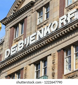 AMSTERDAM, NETHERLANDS - JULY 9, 2017: De Bijenkorf flagship department store in Amsterdam, Netherlands. De Bijenkorf is a Dutch chain of high end department stores.