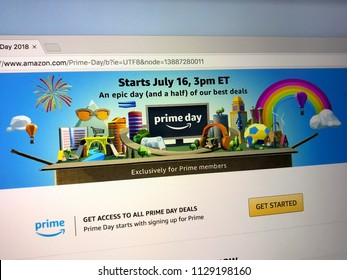 Amsterdam, the Netherlands - July 9, 2018: Website of Amazon prime day page on the official amazon homepage. Amazon Prime Day is a members-only summer sale in month of July each year.