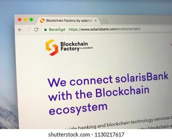 Amsterdam, the Netherlands - July 9, 2018: Website of The Blockchain Factory by SolarisBank, a service provider for blockchain banking cryptocurrency services.