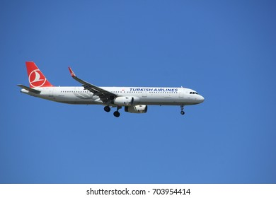 Amsterdam the Netherlands - July 9th 2017: TC-JSV Turkish Airlines Airbus A321 approaching Schiphol Amsterdam Airport Kaagbaan runway
