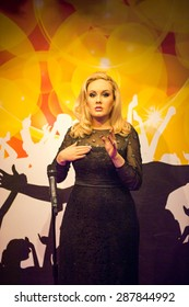 AMSTERDAM, NETHERLANDS - JUN 1, 2015: Adele, the singer, Madame Tussauds museum in Amsterdam. Marie Tussaud was born as Marie Grosholtz in 1761