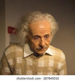 AMSTERDAM, NETHERLANDS - JUN 1, 2015: Albert Einstein, the scientist, Madame Tussauds museum in Amsterdam. Marie Tussaud was born as Marie Grosholtz in 1761