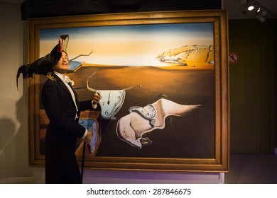 AMSTERDAM, NETHERLANDS - JUN 1, 2015: Salvador Dali, the painter, Madame Tussauds museum in Amsterdam. Marie Tussaud was born as Marie Grosholtz in 1761