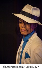 AMSTERDAM, NETHERLANDS - JUN 1, 2015: Michael Jackson, the singer, Madame Tussauds museum in Amsterdam. Marie Tussaud was born as Marie Grosholtz in 1761