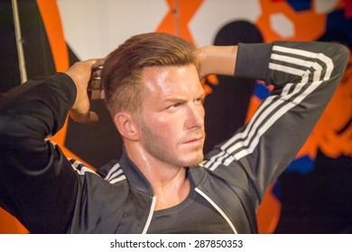 AMSTERDAM, NETHERLANDS - JUN 1, 2015: David Beckham, famous footbaler, Madame Tussauds museum in Amsterdam. Marie Tussaud was born as Marie Grosholtz in 1761