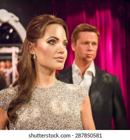 AMSTERDAM, NETHERLANDS - JUN 1, 2015: Angelina Jolie and Brad Pitt, Madame Tussauds museum in Amsterdam. Marie Tussaud was born as Marie Grosholtz in 1761