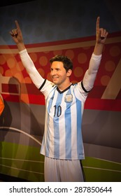AMSTERDAM, NETHERLANDS - JUN 1, 2015: Leonel Messi, FC Barcelona and Argentina national team striker, Madame Tussauds museum in Amsterdam. Marie Tussaud was born as Marie Grosholtz in 1761
