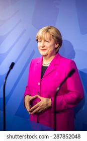 AMSTERDAM, NETHERLANDS - JUN 1, 2015: Angela Merkel, German cancelloe, in the Madame Tussauds museum in Amsterdam. Marie Tussaud was born as Marie Grosholtz in 1761