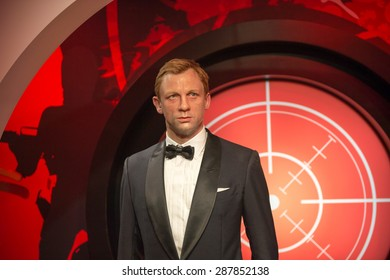 AMSTERDAM, NETHERLANDS - JUN 1, 2015: Daniel Craig as the agent 007 James Bond in Madame Tussauds museum in Amsterdam. Marie Tussaud was born as Marie Grosholtz in 1761
