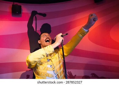 AMSTERDAM, NETHERLANDS - JUN 1, 2015: Freddy Mercury, the singer, Madame Tussauds museum in Amsterdam. Marie Tussaud was born as Marie Grosholtz in 1761